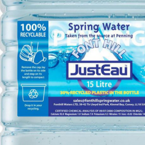 Spring Water Just Eau 15 litres bottle label